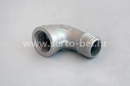 Stainless steel (inox) threaded couplings - Elbow 90 female-male reduction