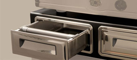 Stainless steel (inox) doors and drawers